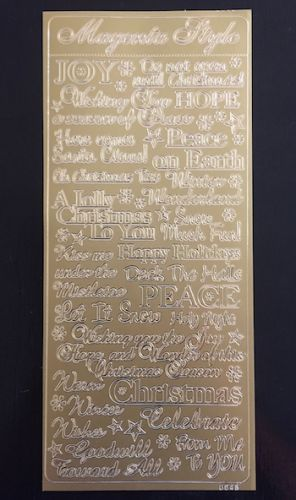 Christmas Words Peel Off Stickers Gold