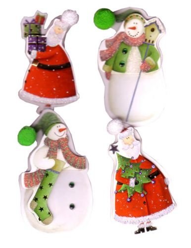 Santa and Snowman Christmas Embellishments