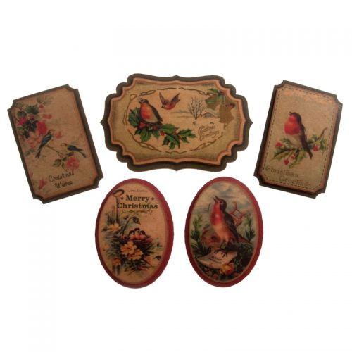 Vintage Birds Christmas Embellishments