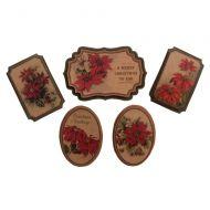 Vintage Poinsettia Christmas Embellishments