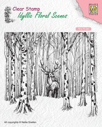 Winter Scene Clear Stamp Deer in Forest