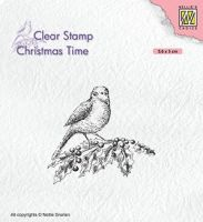 Bird On Holly Branch Clear Stamp