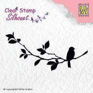 Birdsong 1 Bird on Branch Silhouette Stamp