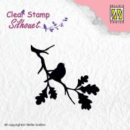 Birdsong 2 Bird on Branch Silhouette Clear Stamp