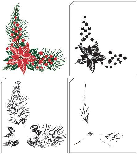 Christmas Poinsettia Corner Layered Stamp Set