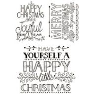 Hand Drawn Christmas Greetings Clear Stamp Set