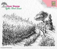 Cornfield and Country Road Clear Stamp