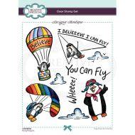 Designer Boutique Flying Penguins Clear Stamp Set