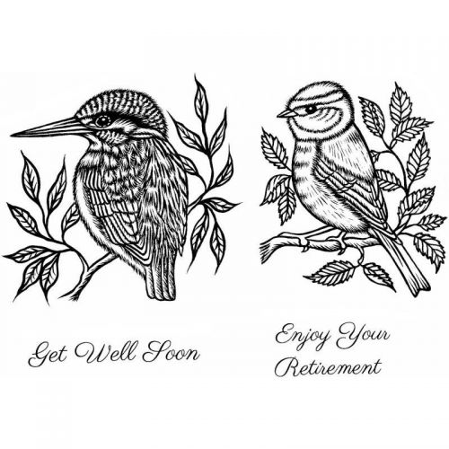 Kingfisher and Blue Tit Clear Stamp Set