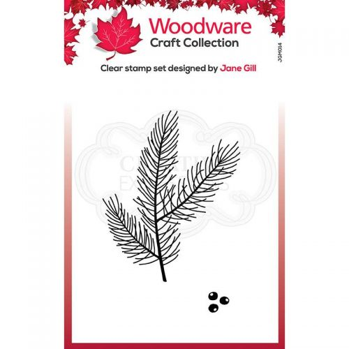 Woodware Mini Pine Branch Clear Stamp Set