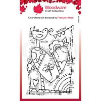 Woodware Rainbow Heart Clear Stamp