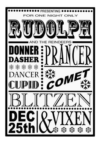 Reindeer Names Poster Clear Stamp Set