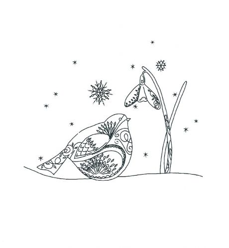Robin and Snowdrop Clear Stamp
