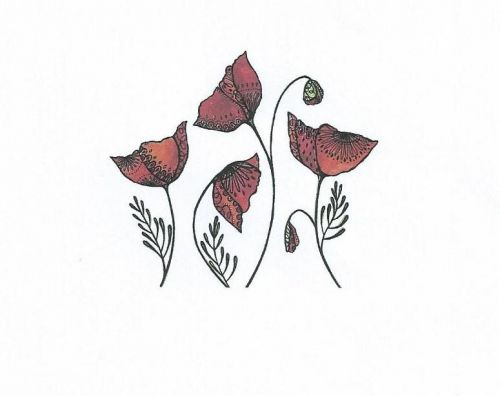 Swirly Poppies Clear Stamp
