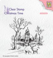 Winter Scene Church and Deer Clear Stamp
