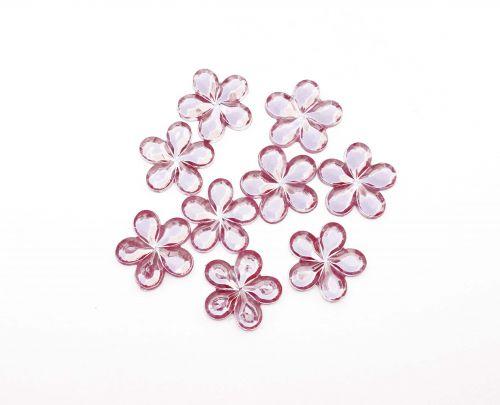 10mm Crystal Flowers Pink