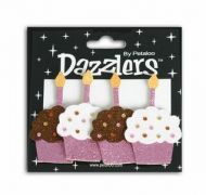 Glitter Cupcake Card Toppers Brown and Pink