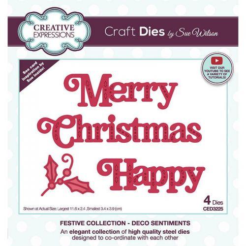 Deco Christmas Sentiment Die Set