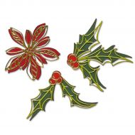 Sizzix Poinsettia and Holly Seasonal Sketch Die Set