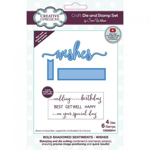 Shadowed Sentiments Stamp and Die Set Wishes