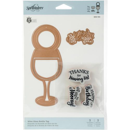 Wine Glass Bottle Tag Stamp and Die Set