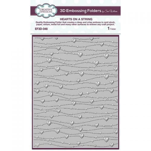 Hearts On A String 3D Embossing Folder (OUT OF STOCK)