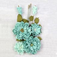 Elsie Mulberry Paper Flowers Turquoise