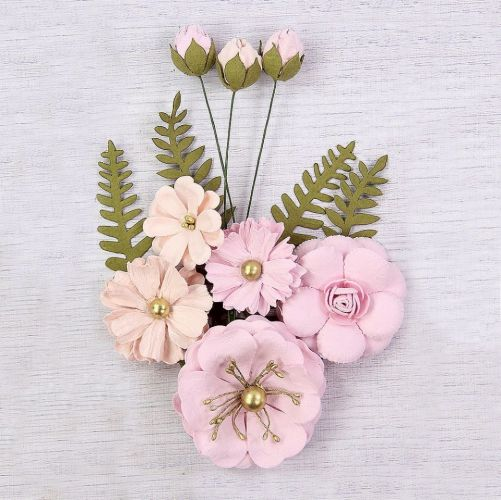 Lucinda Mulberry Paper Flowers and Buds Pink