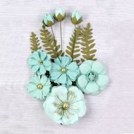 Lucinda Mulberry Paper Flowers and Buds Turquoise