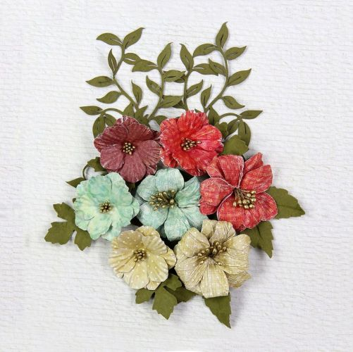 Assorted Hand Made Paper Flowers and Leaves