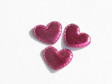 Hot Pink Shiny Padded Hearts