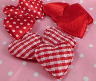 Red Satin, Gingham, Polka Dot Hearts