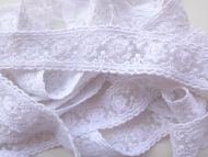 3cm Embroidered Lace White