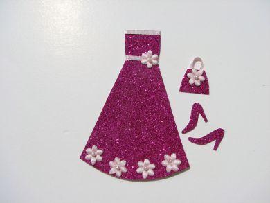 Miniature Cerise Glitter Dress