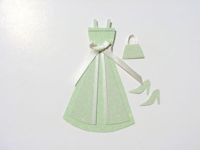 Miniature Pale Green Glitter Dress