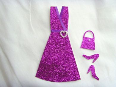 Miniature Purple Wrapover Glitter Dress