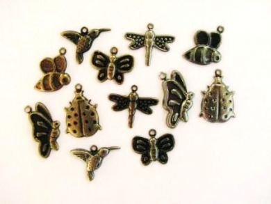 Birds and Bees Metal Charms