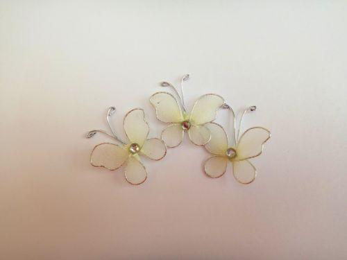 Cream Mesh Butterflies