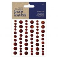 Adhesive Wooden Dots Dark Wood
