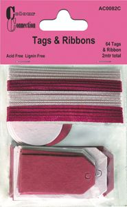 Tags and Ribbons Red and Pink