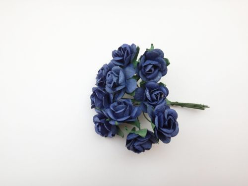 25mm Blue Mulberry Paper Roses