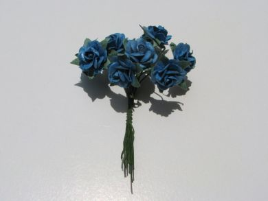 Blue Mulberry Paper Roses