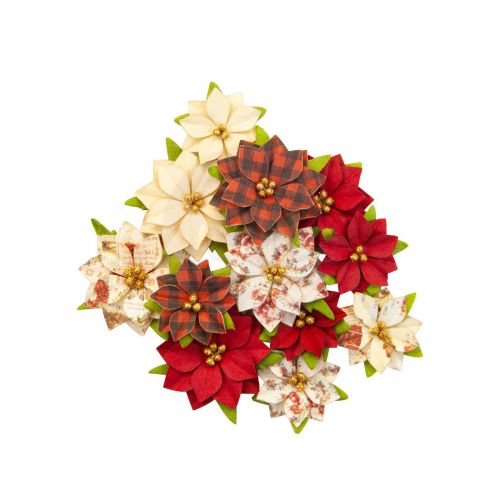 Country Christmas Paper Poinsettia Flowers
