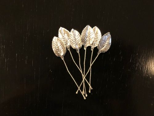 Wire Stemmed Silver Foil Leaves