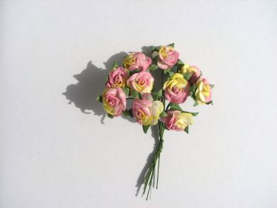 Yellow and Pink Mulberry Paper Roses