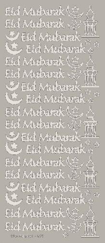Eid Mubarak Peel Off Stickers Silver