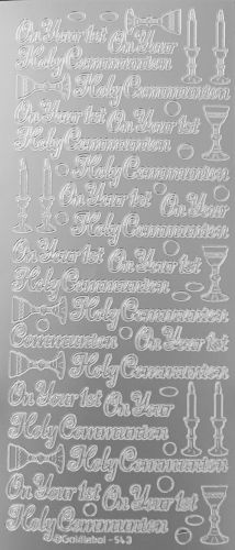 First Holy Communion Peel Off Stickers Silver