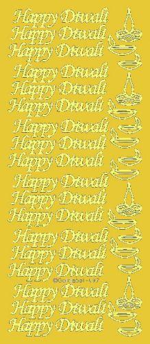 Happy Diwali Peel Off Stickers Gold