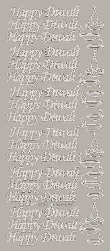 Happy Diwali Peel Off Stickers Silver
