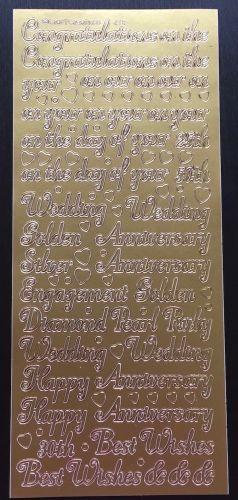 Anniversary Congratulations Peel Off Gold